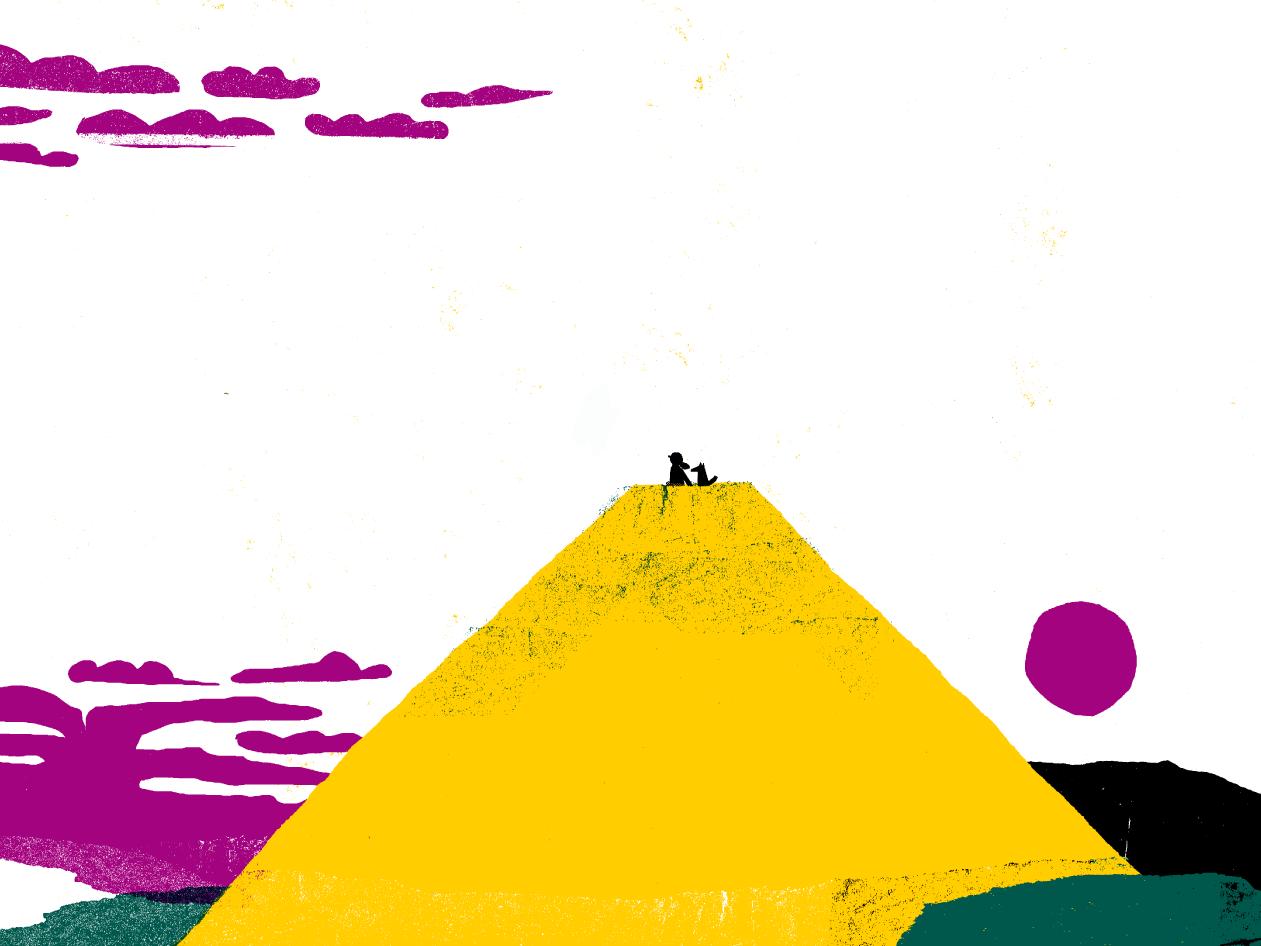 Ilustração a imitar papel de lustro com desenho de um grande monte amarelo e no topo a preto uma criança com um boné com a pala para trás acompanhado de um cão
