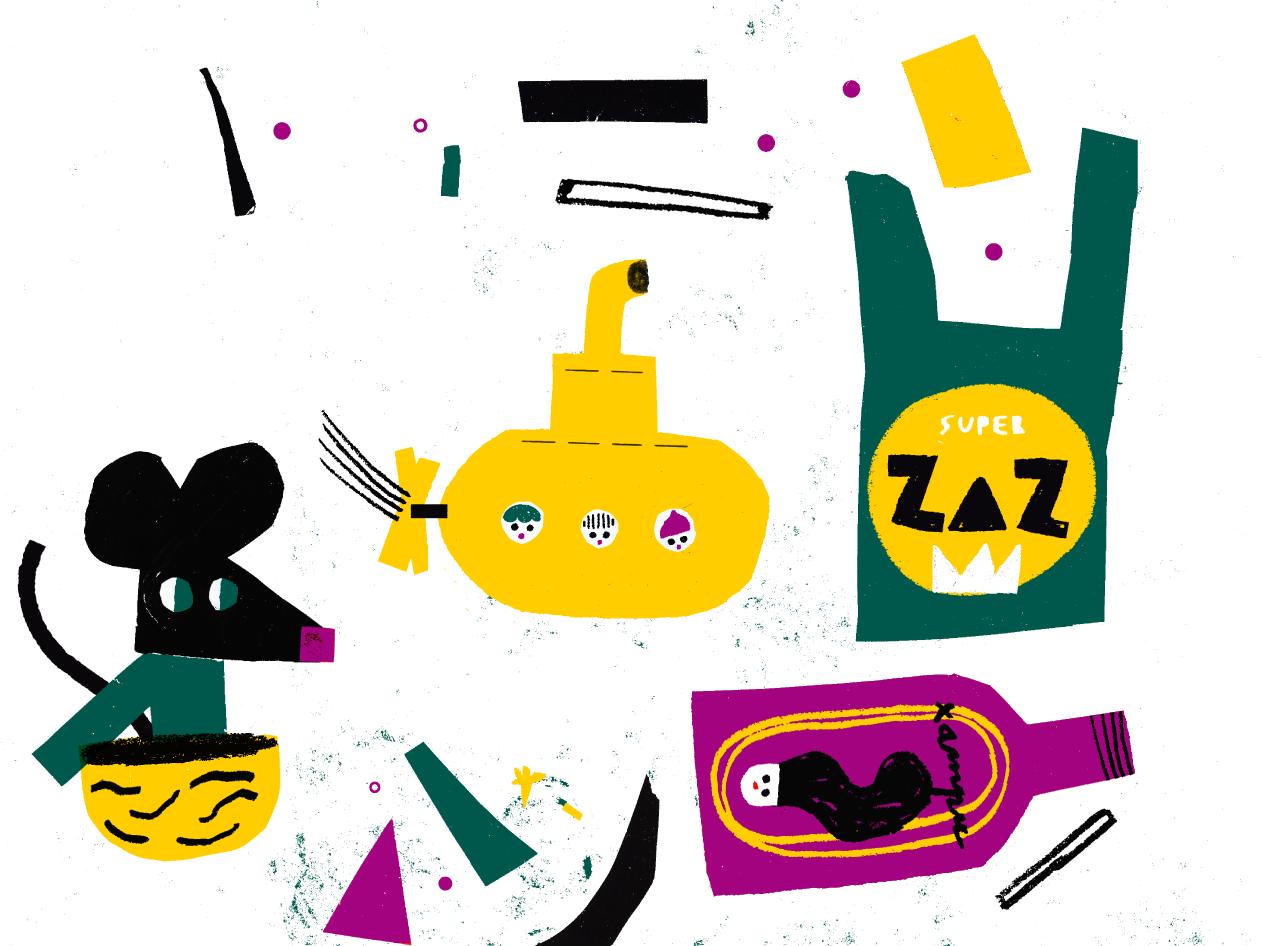Ilustração com um desenho de um ratinho, de submarino e lixo e plásticos