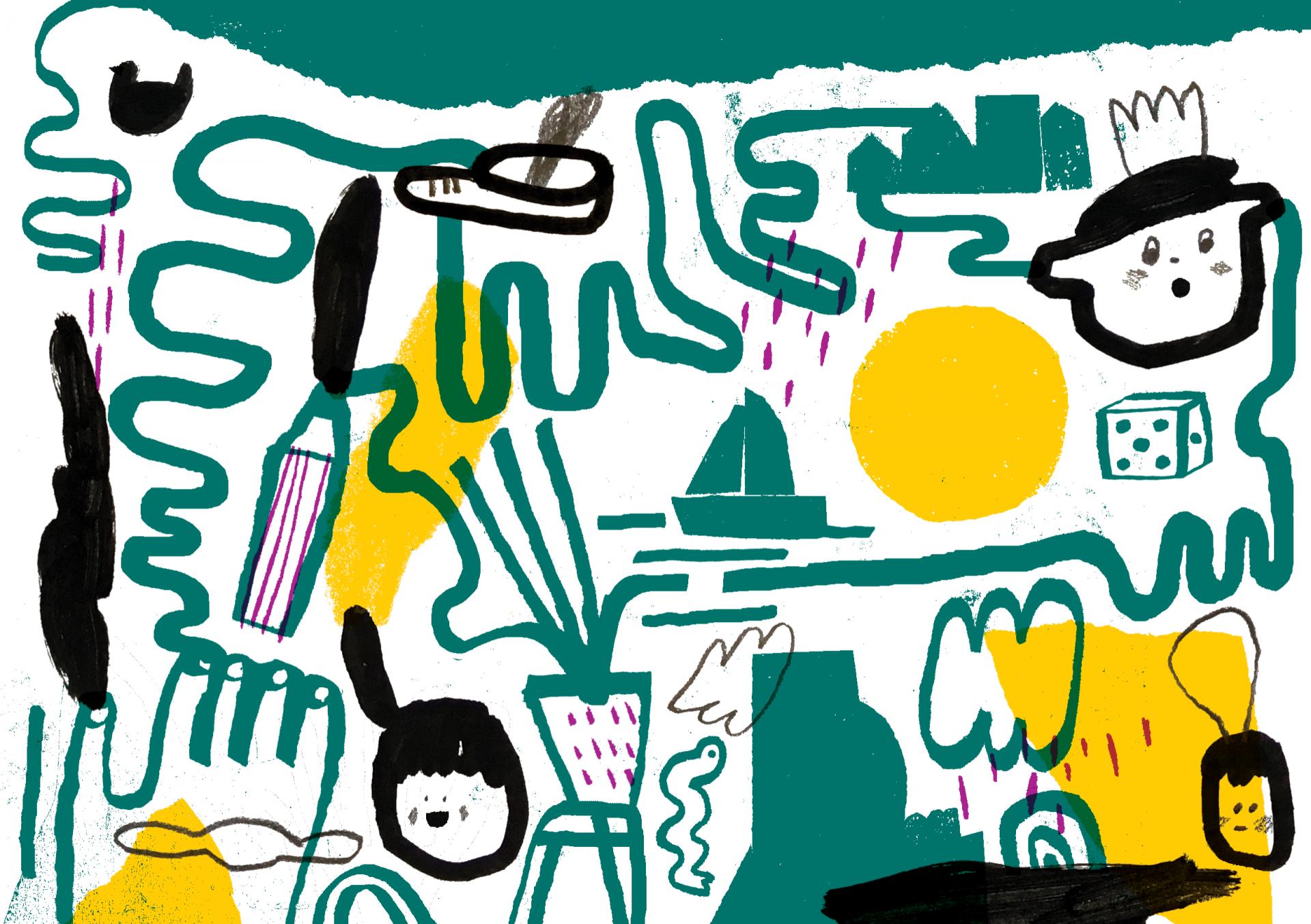Ilustração com lápis e rabiscos a imitar papel de lustro