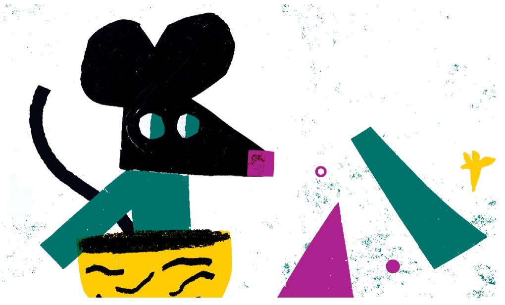 Ilustração com um rato numa casca de noz feito com  lápis e rabiscos a imitar papel de lustro