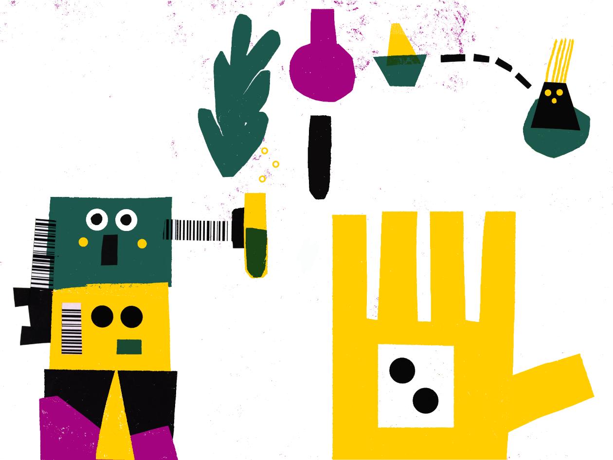 Ilustrações em preto, cor-de-rosa, verde garrafa, amarelo, alusivas a papel de lustro com bonecos, plantas e barcos