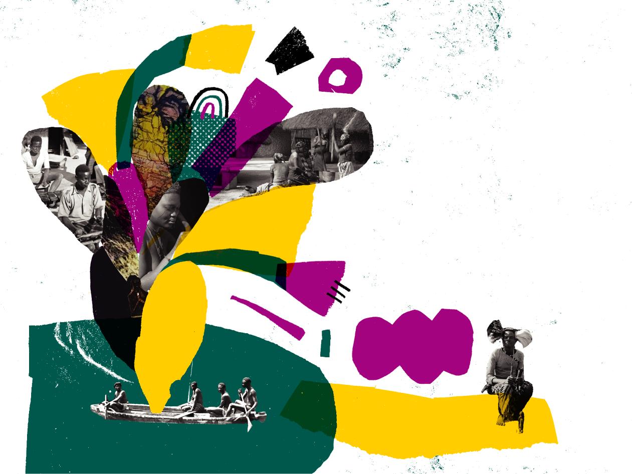 Ilustração, em papel a imitar papel de lustro, com partes de fotografias a preto e branco de afazeres africanos: tocar música, andar de canoa, utilização do almofariz com o pilão