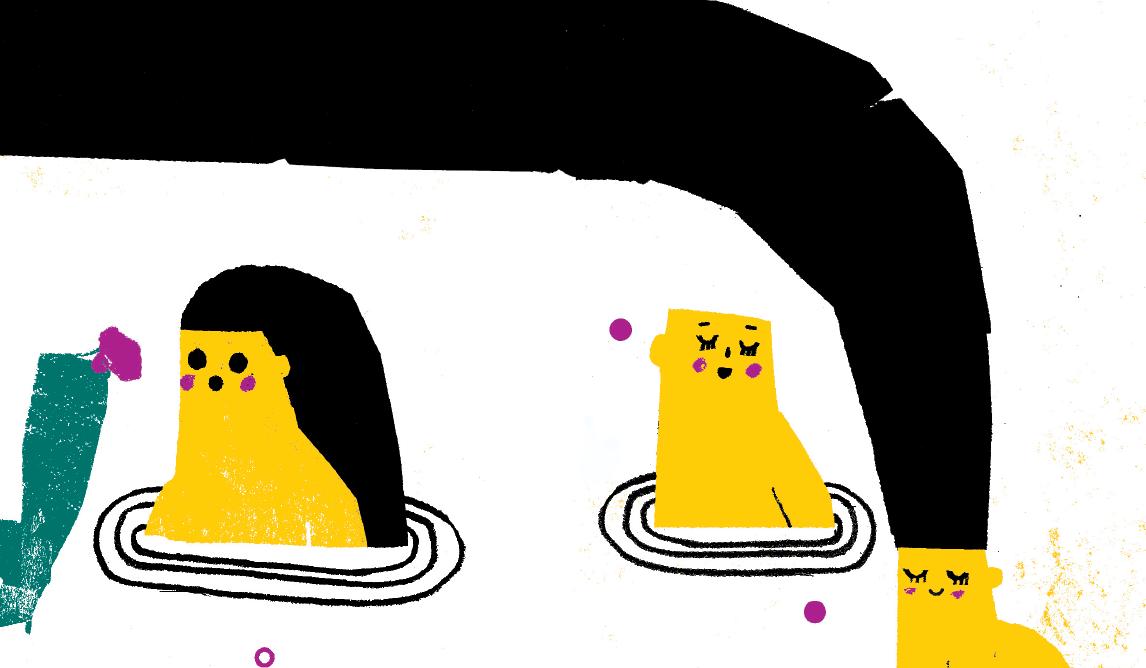 Ilustração, a imitar papel de lustro, alusiva às musas do Tejo. Papel de lustro amarelo e longos cabelos pretos.