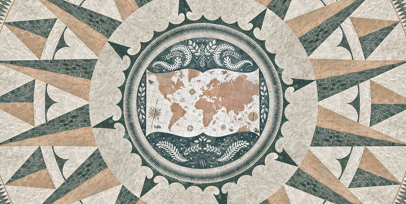 Rosa dos ventos em mármore de várias cores e proveniências e que tem no centro o mapa mundo que se encontra no terreiro de acesso ao Padrão dos Descobrimentos