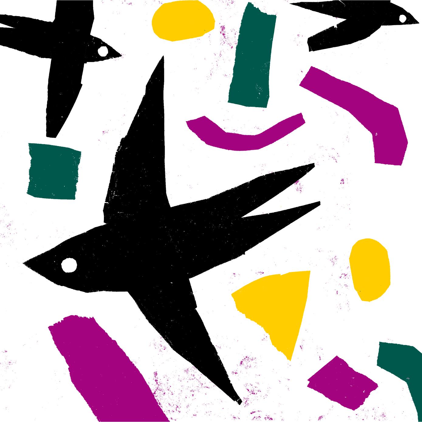 Ilustração com andorinhas imitar papel de lustro
