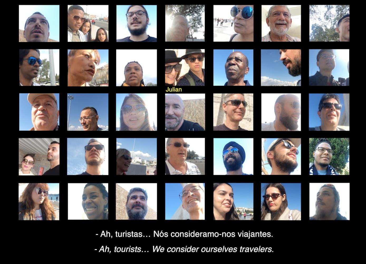 Captura de ecrã em que estão as 35 pessoas entrevistadas a responder à pergunta se são turistas?