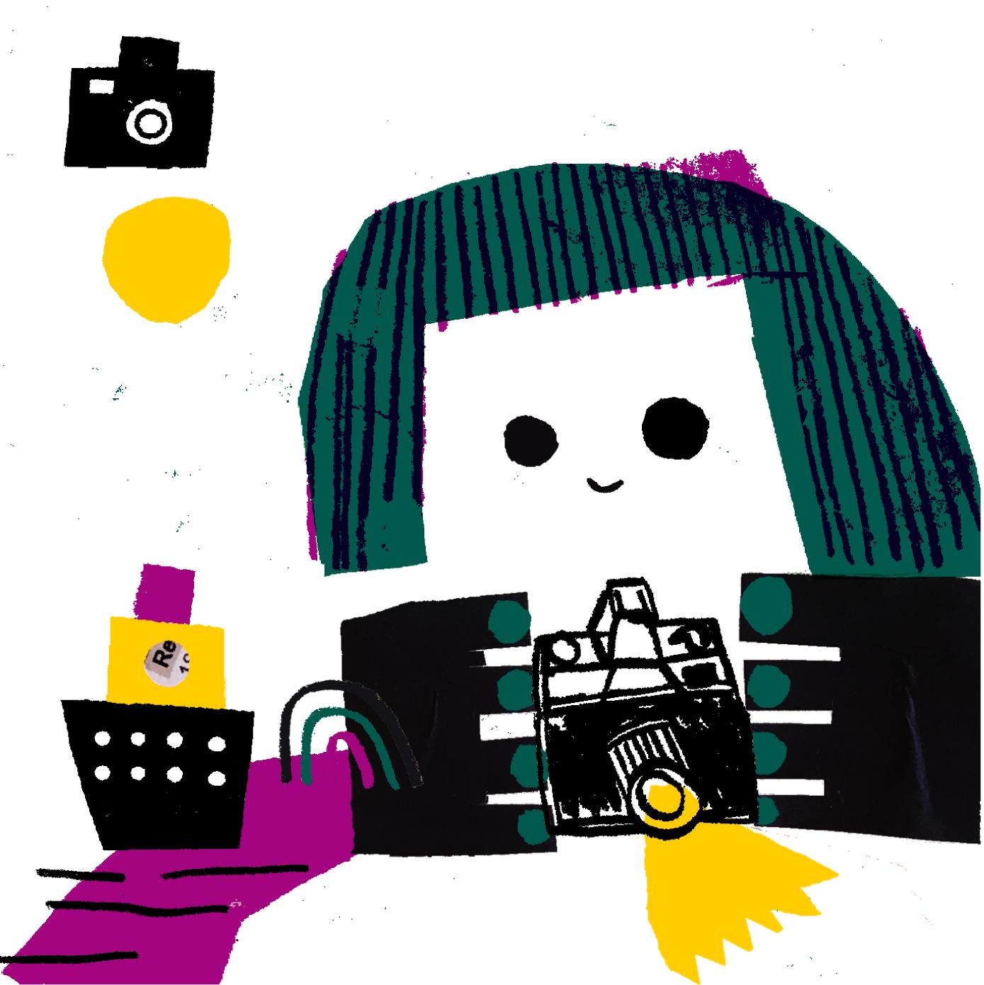 Ilustração com uma menina com máquina fotográfica  feita com lápis e rabiscos a imitar papel de lustro