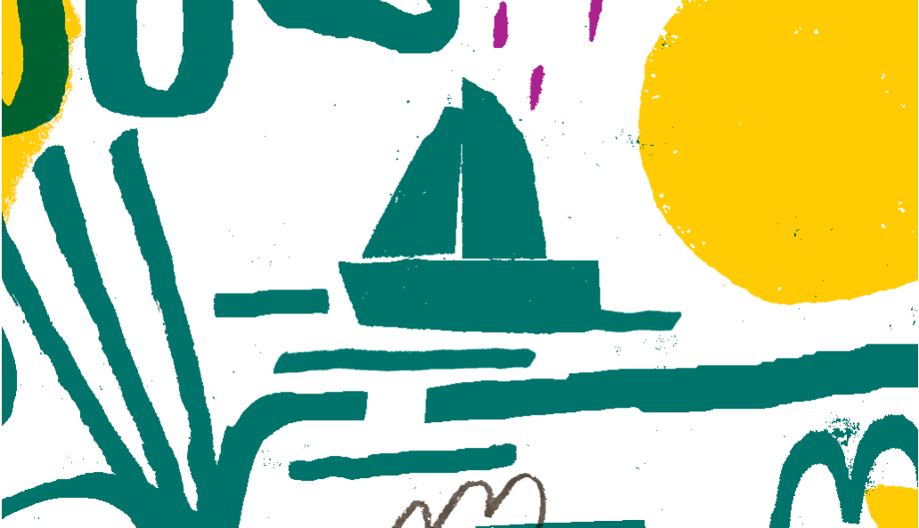 Ilustração com barco desenhado alápis e rabiscos a imitar papel de lustro