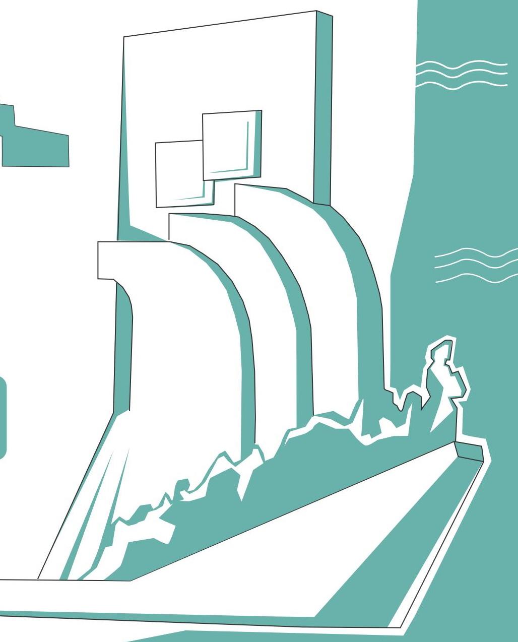 Ilustração com o Padrão dos Descobrimentos, desenhados apenas os contornosem verde água e branco