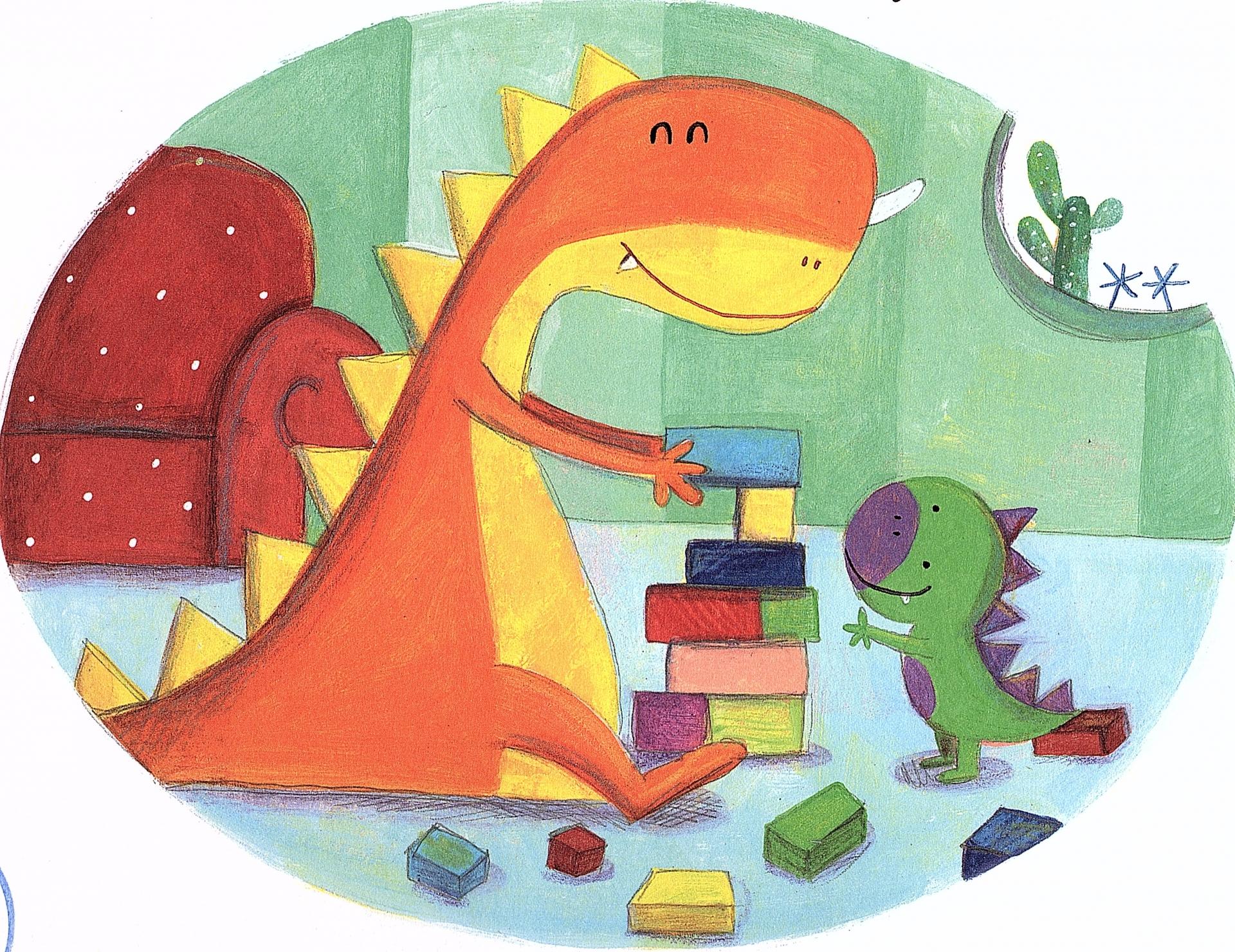 desenho em cores garridas de um dinosauro Pai a brincar com o filho